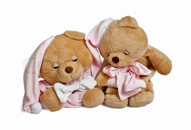 isolated teddy bear couple sitting at white background couple in
