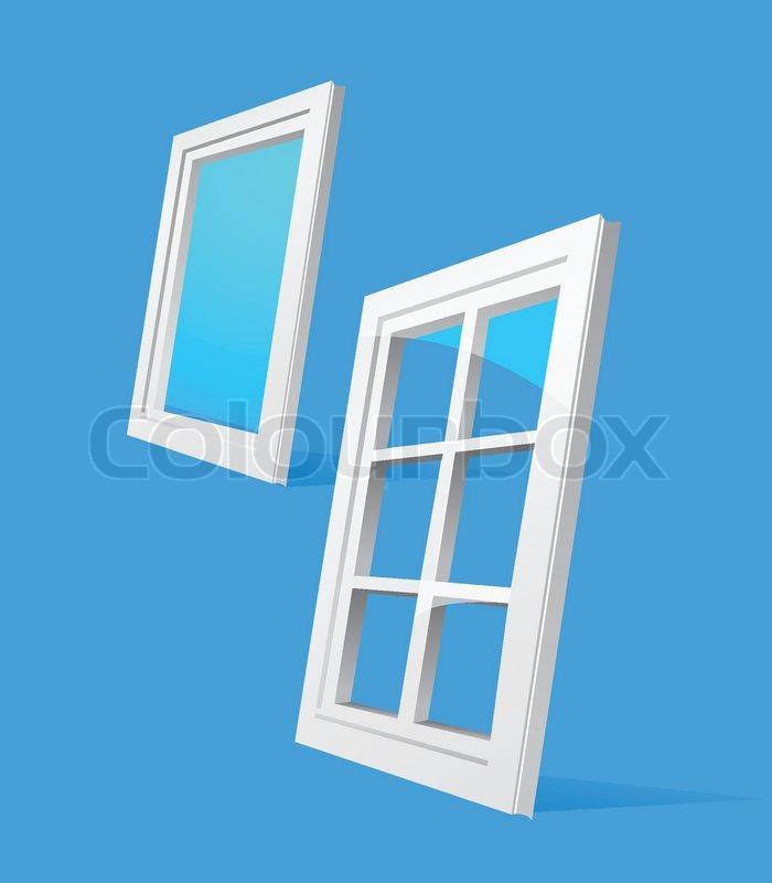 perspektive kunststoff fenster abbildung auf blauem hintergrund vektorgrafik colourbox. Black Bedroom Furniture Sets. Home Design Ideas