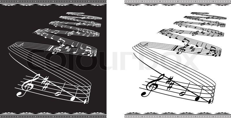 Neu Vector Musik Thema auf Schwarz-Weiß klassischen Hintergrund  HP83