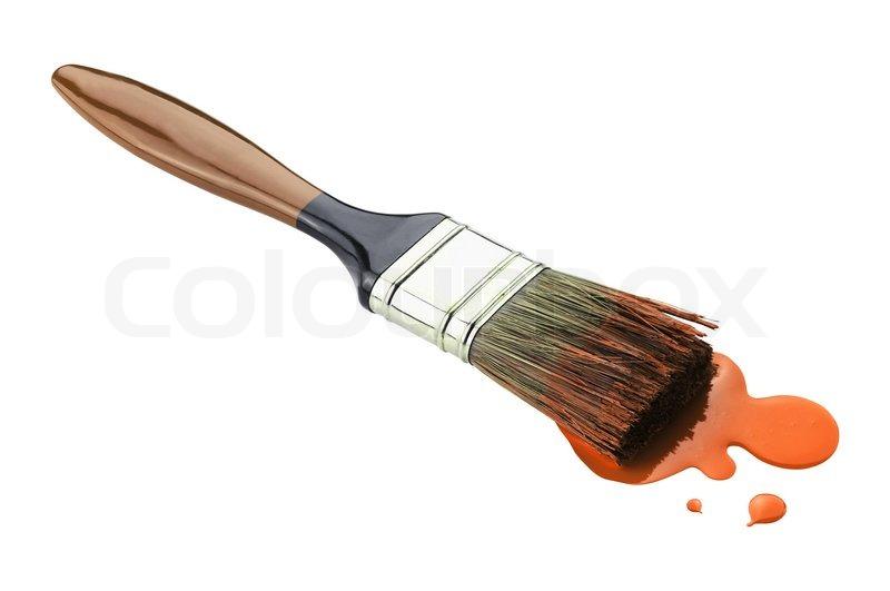 pinsel mit orange farbe auf wei em hintergrund stockfoto colourbox. Black Bedroom Furniture Sets. Home Design Ideas