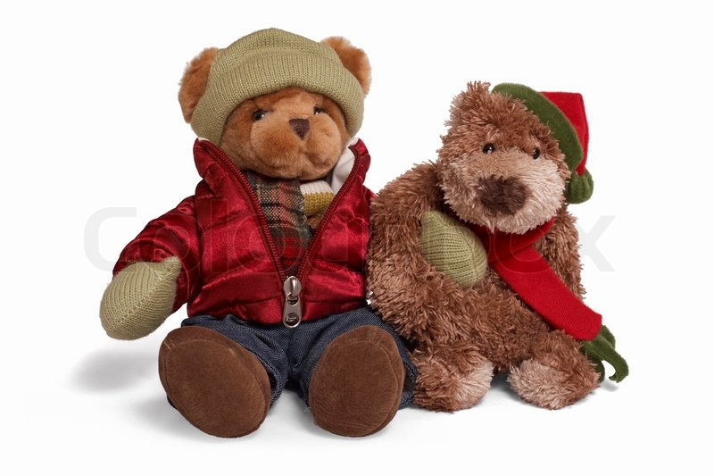 Isolated Teddy Bear Couple Sitting At ...