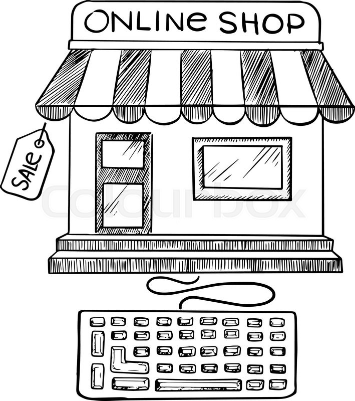 Online shopping and store icon with a black and white for Online retailer for sale