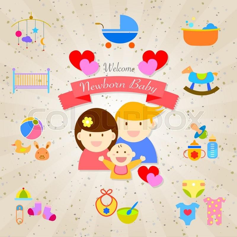 Welcome newborn baby infographics happy family vector design stock vector colourbox