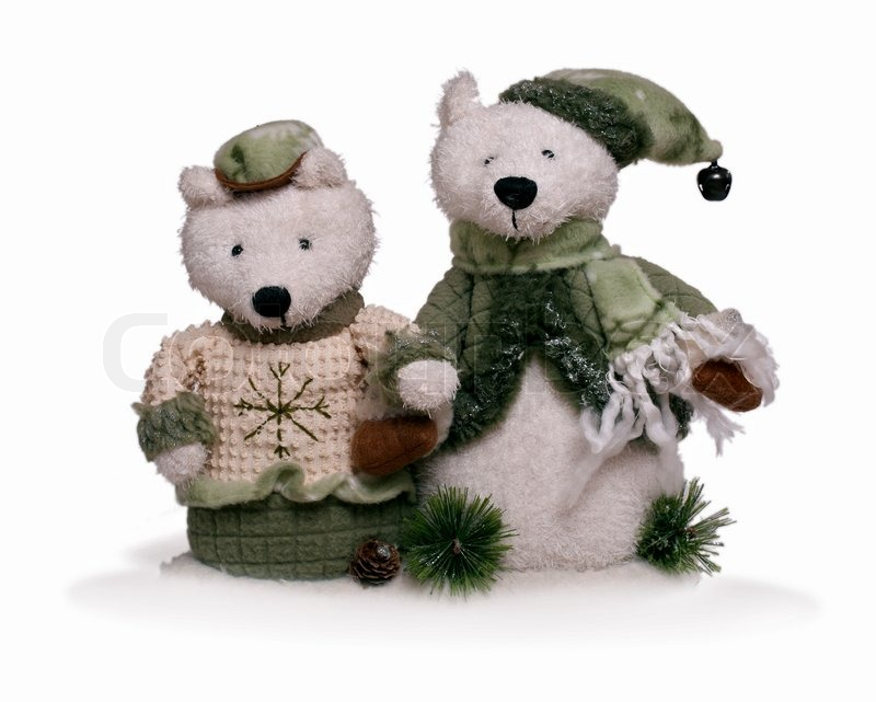 Isolated Teddy Bear Couple Holding Each Other By Hand At