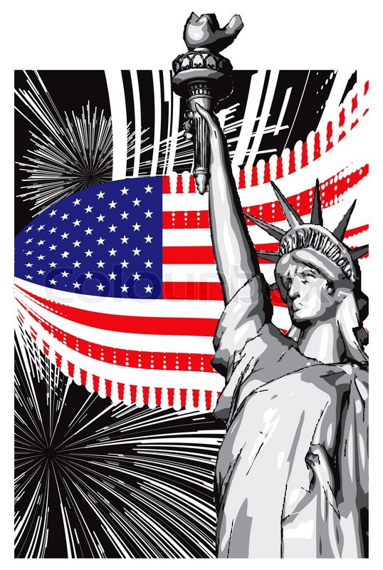 American Symbols Of Flag And The Statue Of Liberty Stock Photo