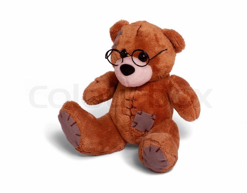 Isoliert Teddybar Sitzt Auf Weissen Hintergrund Stockfoto Colourbox