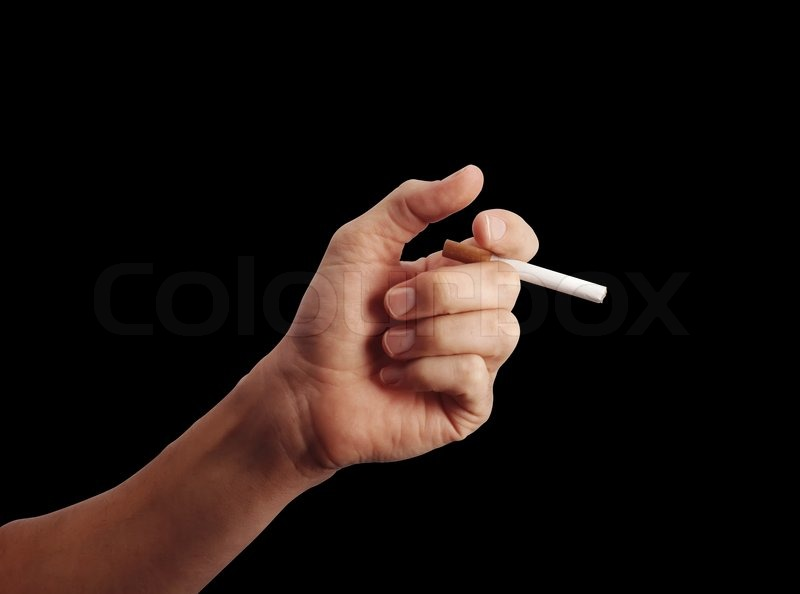 Man S Hand With A Cigarette Over Black Background Stock