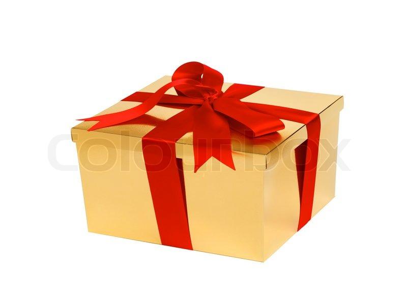 goldene geschenkbox mit roter schleife isoliert auf wei. Black Bedroom Furniture Sets. Home Design Ideas
