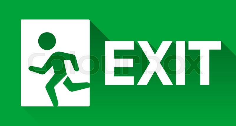 green emergency exit sign direction to left flat long shadow icon