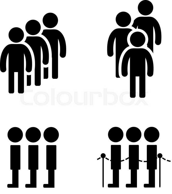 Queue Symbol In Flat Style Vector Illustration Stock