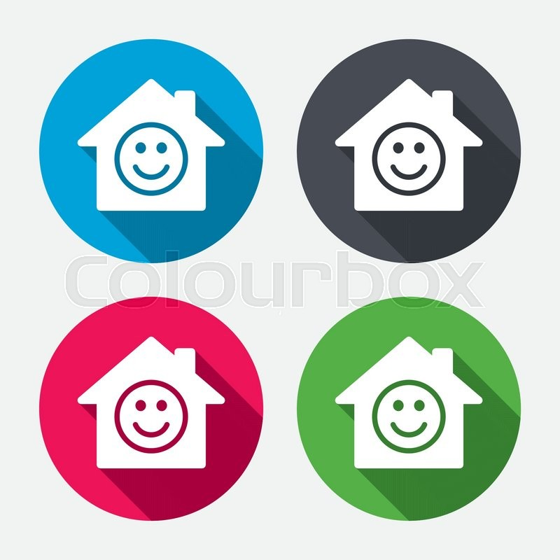 Comedy Club Smile Icon Happy Face Chat Symbol Circle Buttons With