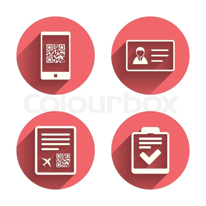 Qr Scan Code In Smartphone Icon Boarding Pass Flight Sign Id Card