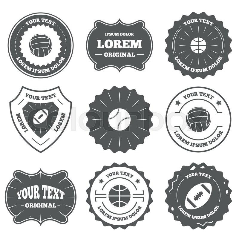 Vintage emblems, labels. Sport balls icons. Volleyball, Basketball, Baseball and American football signs. Team sport games. Design elements. Vector, vector