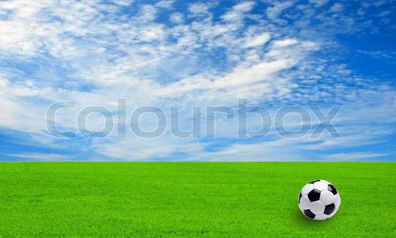 Soccer Football On Green Field With Blue Sky Background: Soccer Ball On The Field Of Green Grass And Blue Sky