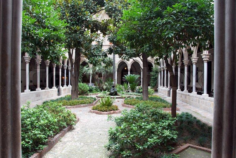 Garden inside church barcelona   Stock Photo   Colourbox