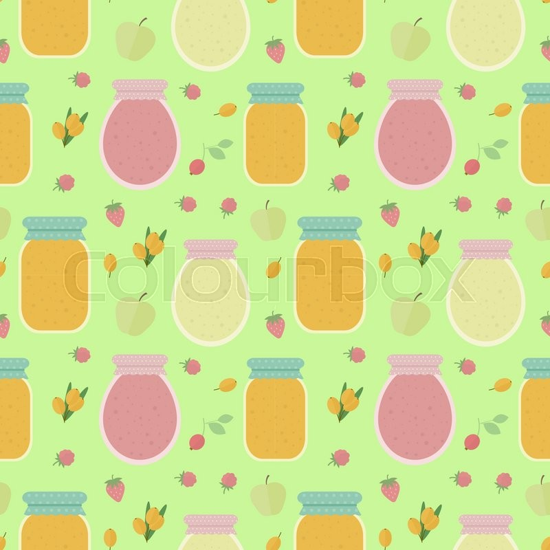 Homemade jam. Seamless pattern with fruits and berries, and jars of jam. Vector background for design of wallpaper, wrapping paper, textile and package design, vector