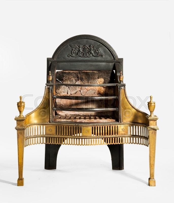 Antique Fireplace Grate With Large Back Plate And Brass Decoration  Victorian For Medium Fire Places Isolated On White, Stock Photo