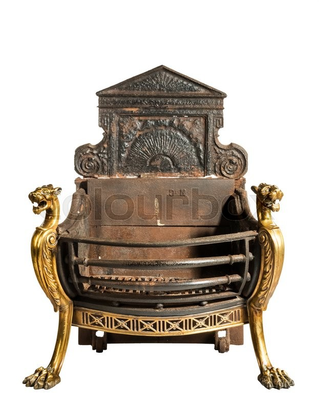 Antique Fireplace Grate With Large Back Plate And Brass Decoration  Victorian For Medium Fire Places Isolated On White   Stock Photo   Colourbox