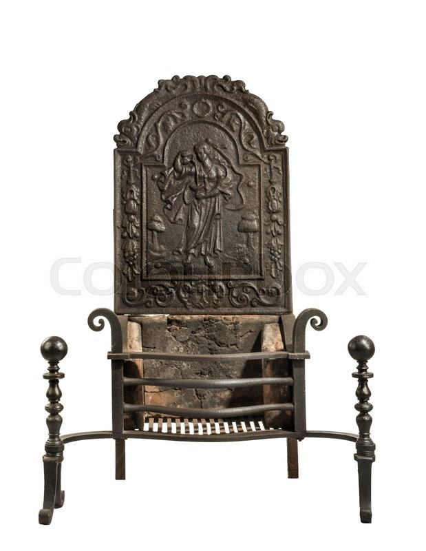 "Buy the royalty-free stock image ""Antique fireplace grate with large tall back plate with"" online ? All image rights included ? High resolution picture ..."