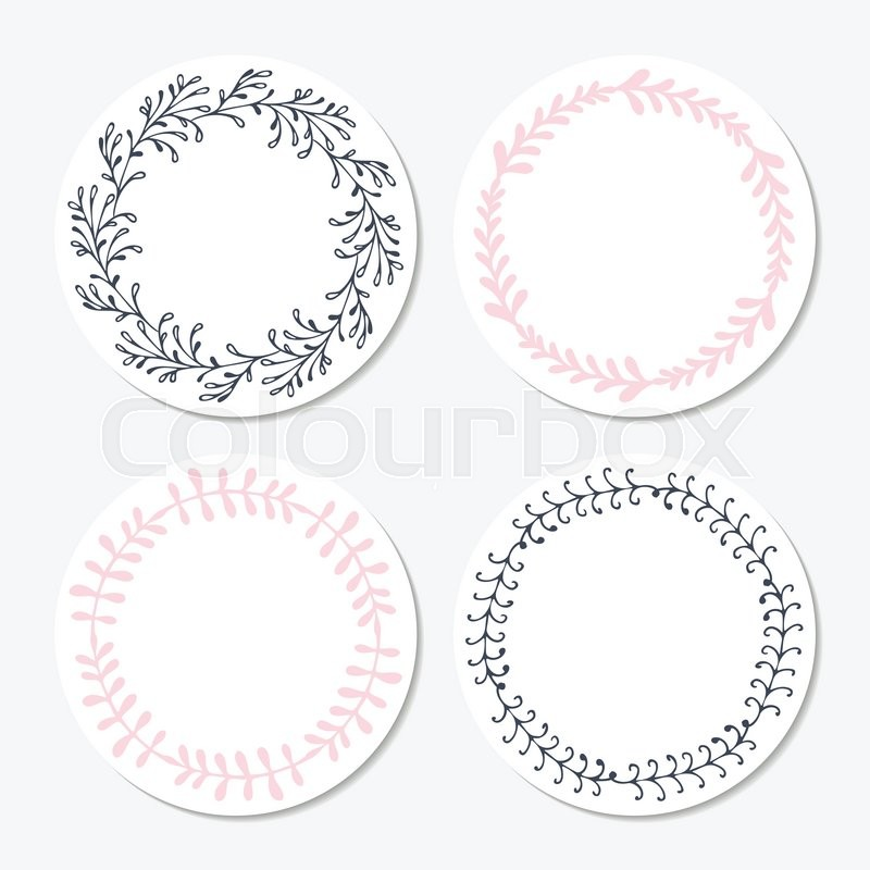 Fast food sticker templates collection with hand drawn floral frame background with place for your text or design vector illustration stock vector