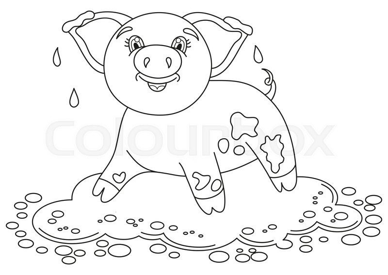 pig in mud coloring pages - photo#1