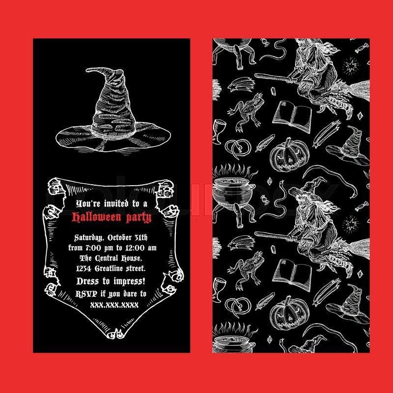Medieval engraving style halloween invitation ink line illustration medieval engraving style halloween invitation ink line illustration with animals objects and characters for halloween stock vector colourbox stopboris Image collections