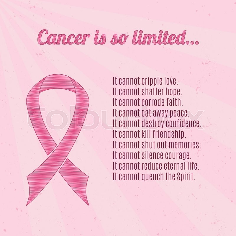 Pink Breast Cancer Awareness Ribbon Over Pink Vintage Background New Breast Cancer Inspirational Quotes