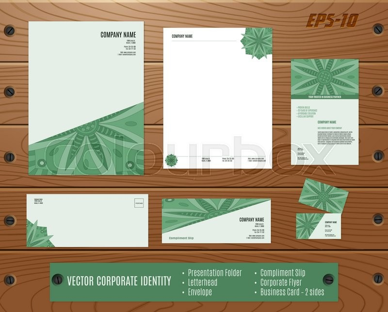 Collection of corporate identities presentation folder letterhead collection of corporate identities presentation folder letterhead envelope compliment slip corporate flyer business card on wood texture spiritdancerdesigns Images