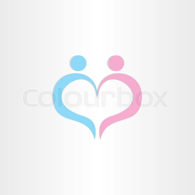 Couple Boy And Girl Heart Love Symbol Design Stock Vector Colourbox