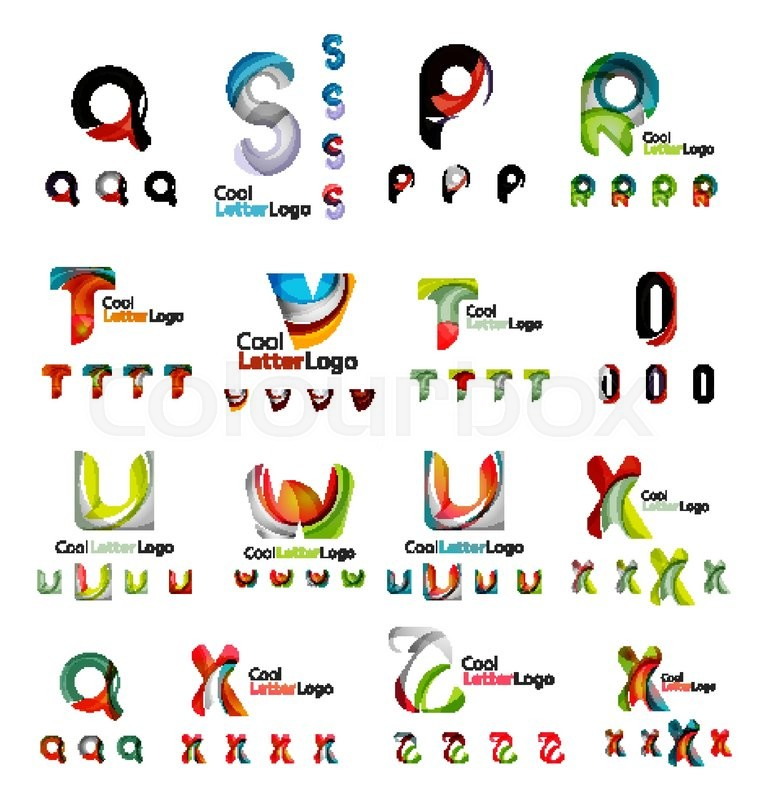 Set of colorful abstract letter corporate logos made of overlapping ...