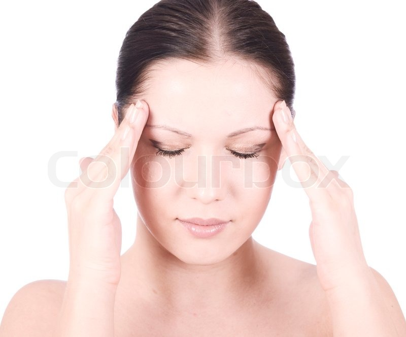Young beauty woman with headache holding hands on forehead ...