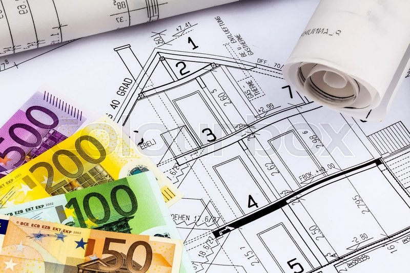 A blueprint of an architect with euro money symbolic photo for a blueprint of an architect with euro money symbolic photo for financing and planning of a new house stock photo colourbox malvernweather Image collections