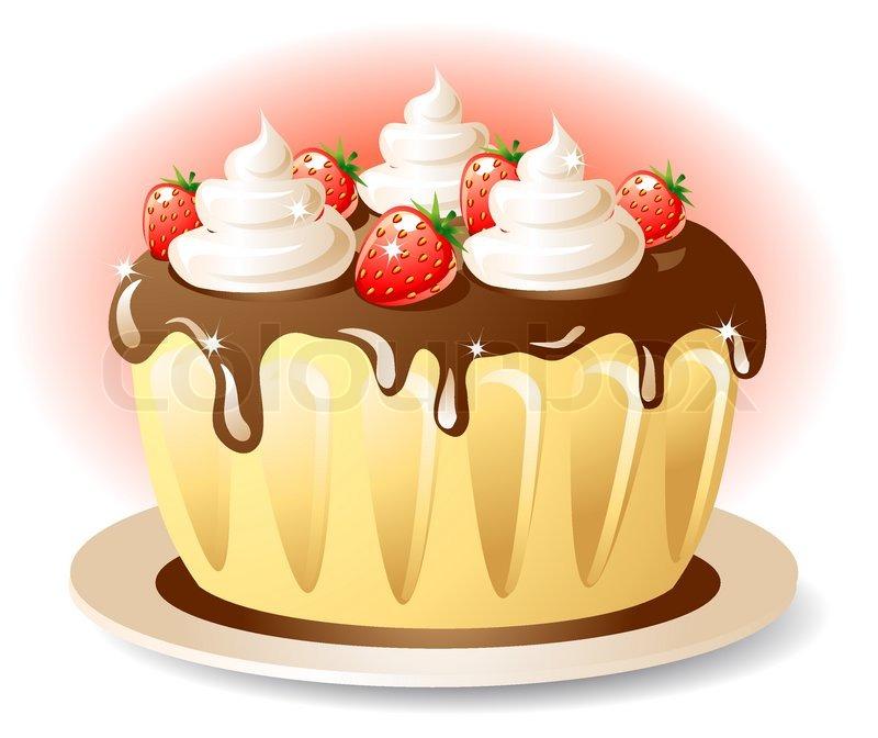 leckere kuchen mit schokolade und erdbeere sahne vektorgrafik colourbox. Black Bedroom Furniture Sets. Home Design Ideas