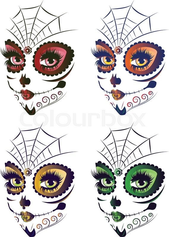 Sugar Skull Girl Face With Make Up For Stock Vector Colourbox