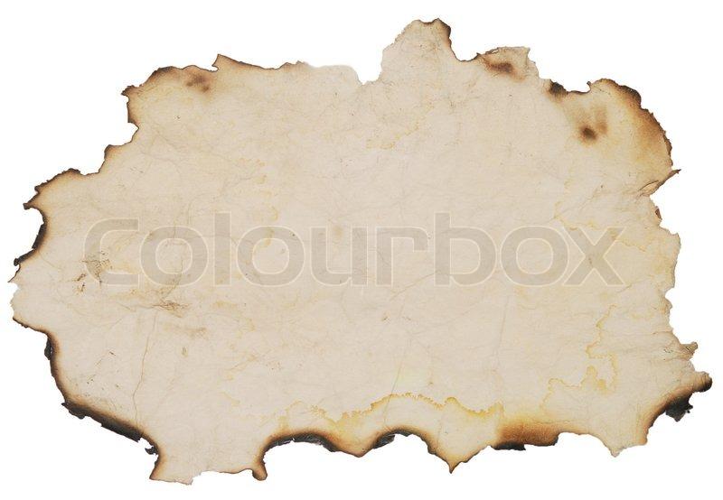 Alte rouhg Papier mit verbrannt Kanten über weiße ...