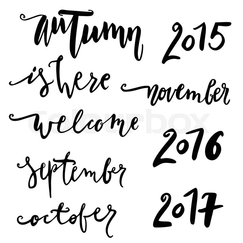 Stock Vector Of Hello October Hand Drawn Lettering Autumn Quote Modern Calligraphy