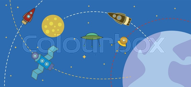 Cosmos with rockets and planets, vector