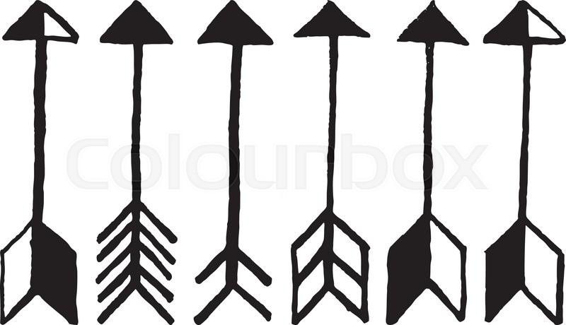 cute arrows hand drawn doodles set stock vector