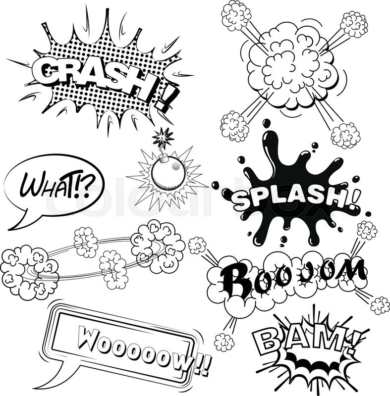 Drawing Lines Sound Effect : Comic speech bubbles sound effects cloud explosion vector