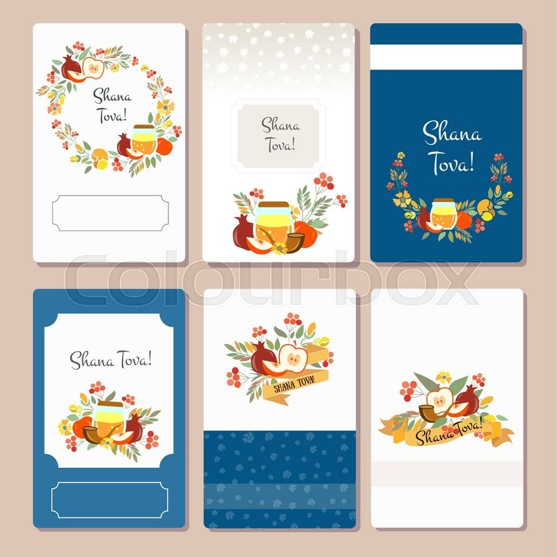 vector collection of labels and elements for rosh hashanah jewish new year card templates with signature shana tova happy new year flower template