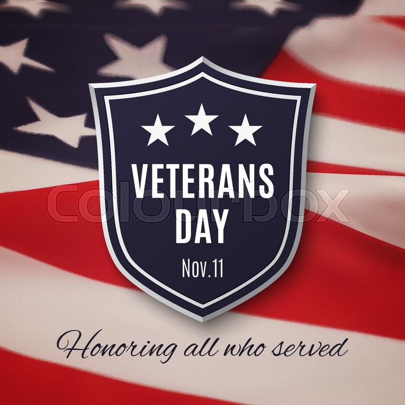 Veterans day background. Shield on American flag. Vector illustration, vector