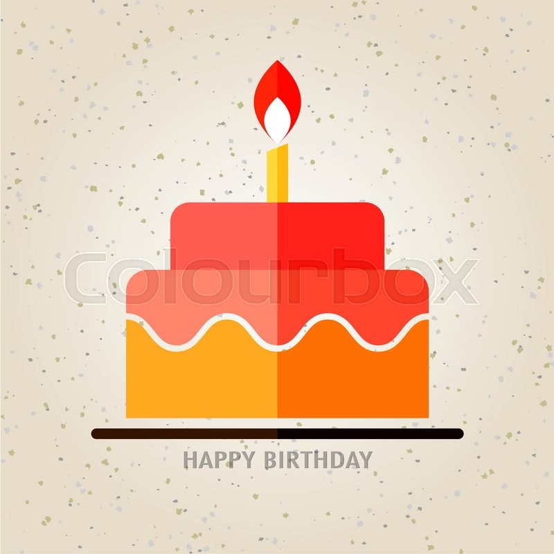 Happy Birthday Birthday Cake With Candle Flat Icon Background