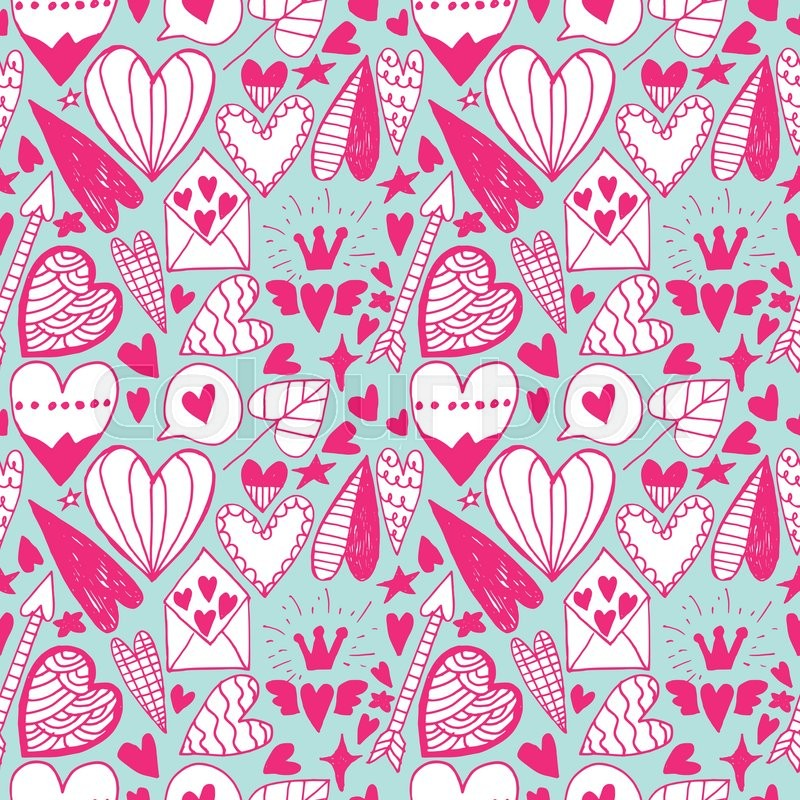 Hand drawn doodle heart seamless pattern. Saint valentine day ...