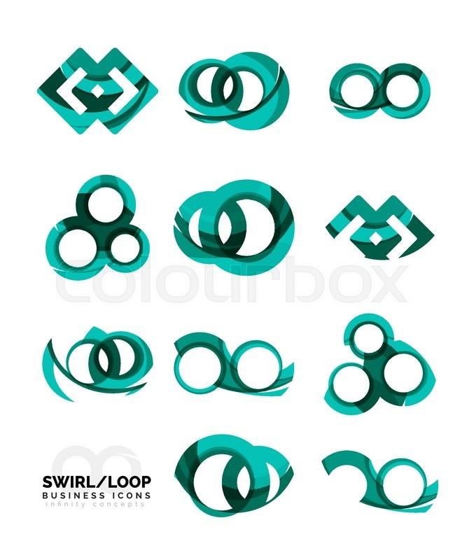 Set Of Infinity Concepts Loop Logo Designs Modern Color Flowing