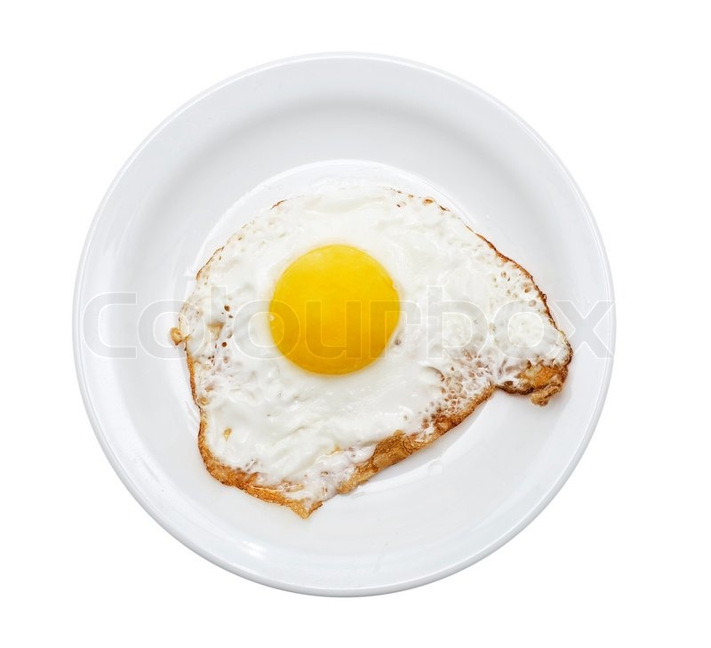 Fried Eggs On A Plate (Wooden Background) Stock Photo ...  |Fried Eggs On A Plate