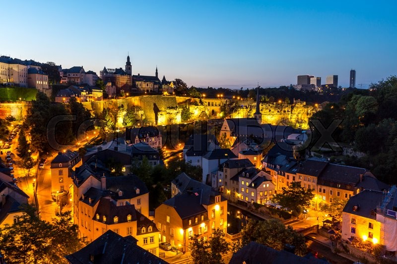 Scenic view of luxembourg city downtown at dusk stock photo scenic view of luxembourg city downtown at dusk stock photo colourbox thecheapjerseys Images
