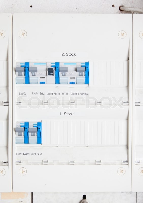 old german fusebox, with blue buttons, stock photo colourbox Household Fuses