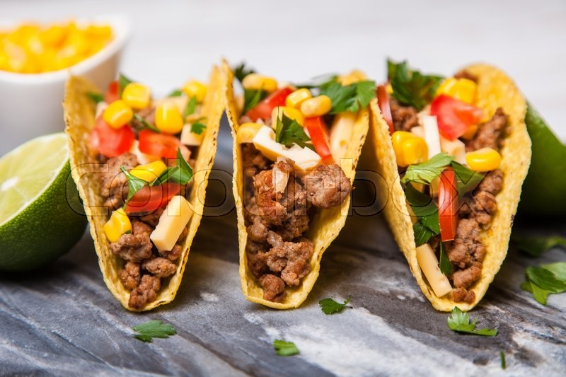 Mexican food - delicious tacos with ground beef | Stock ...