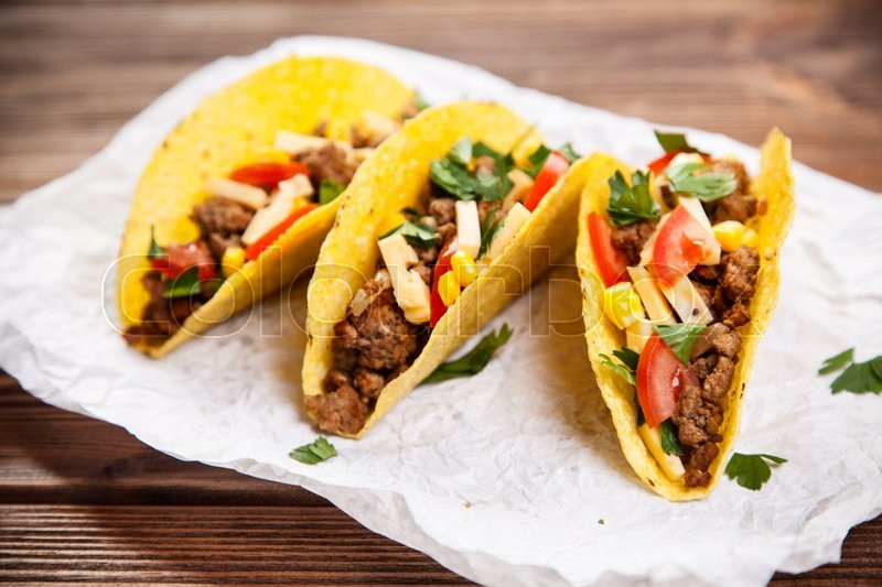 Mexican food - delicious tacos with ... | Stock Photo ...