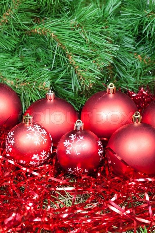 Vertical christmas still life many red balls